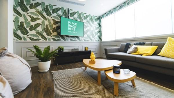 TV in green living room