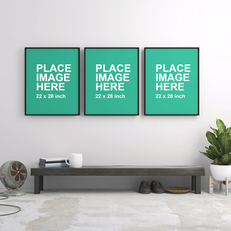 3 black frames on white wall