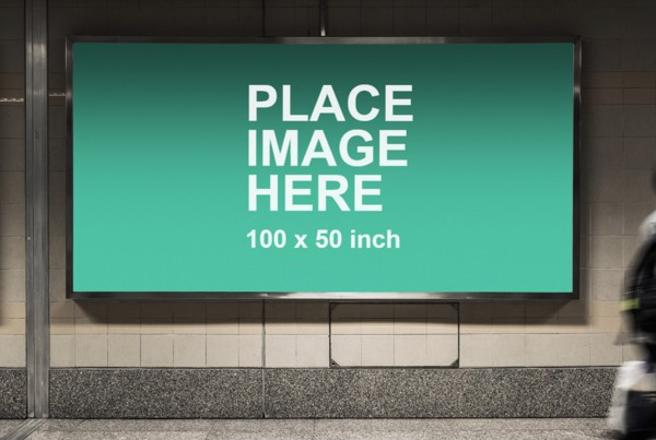 Long billboard in metro