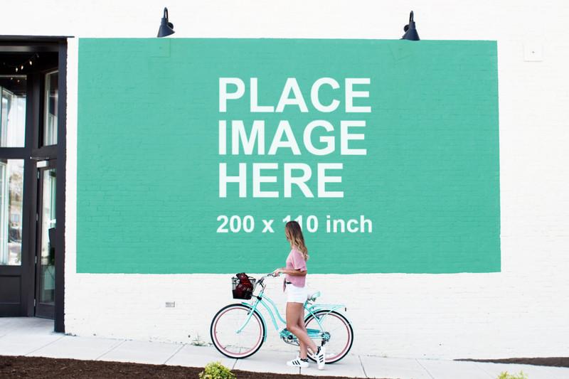 Huge billboard on white wall