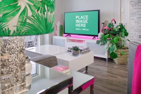 Black TV in living room