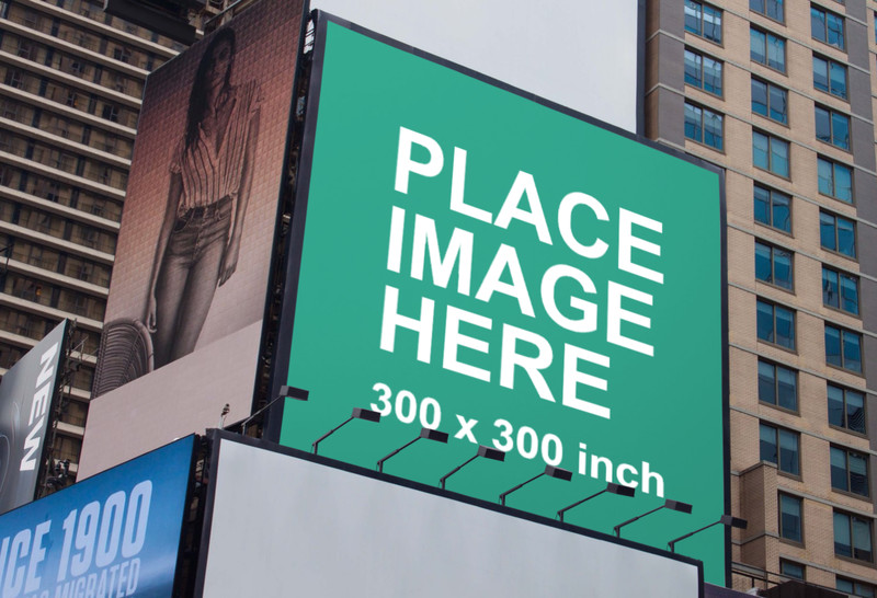 Large billboard on building