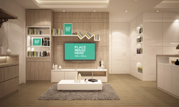 TV and frames on wall