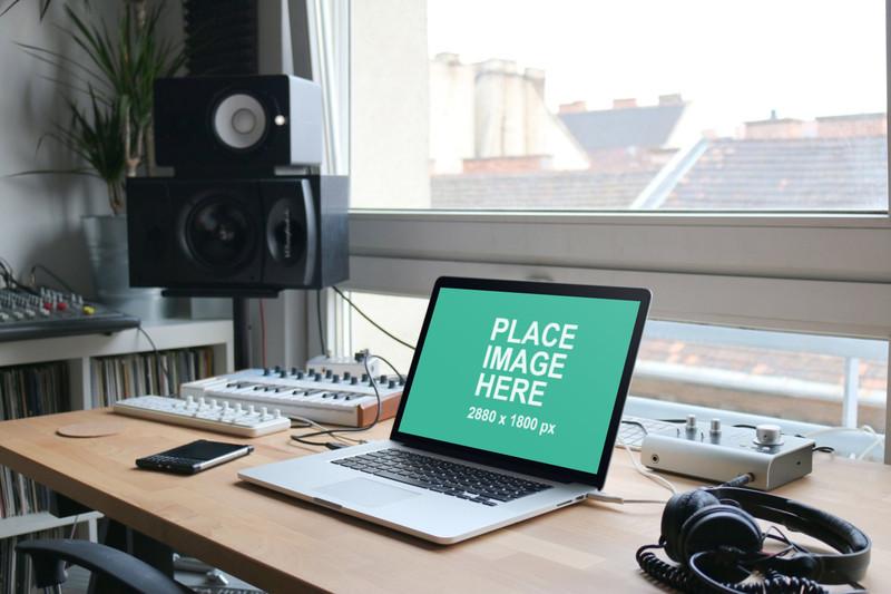 MacBook Pro in music studio
