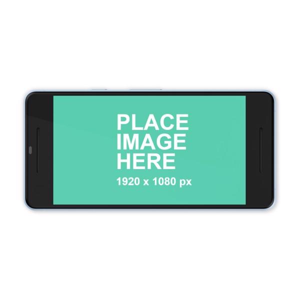 Blue Google Pixel 2 in landscape