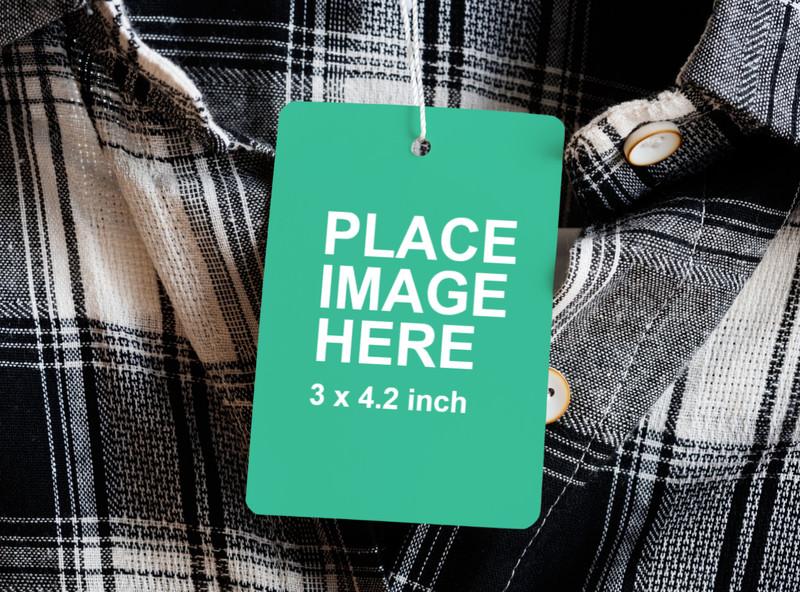 Close up price tag mockup