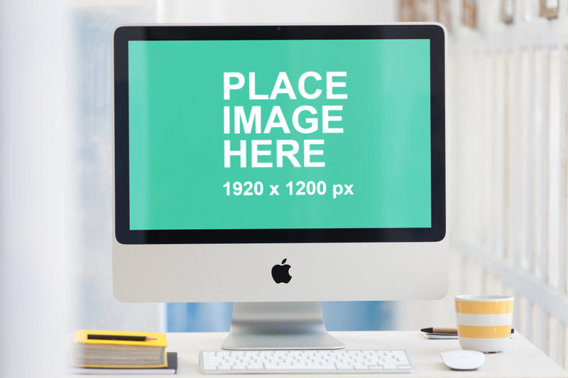 Closeup iMac in open office