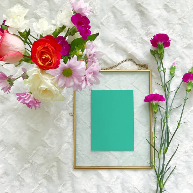 Flatlay A6 Print in Floating Frame with Fresh Colorful Flowers