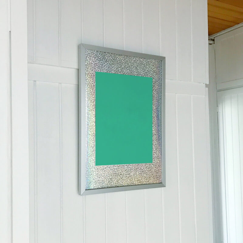 Framed Art Print Mockup on Hologram Background