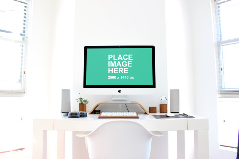 iMac in white home office