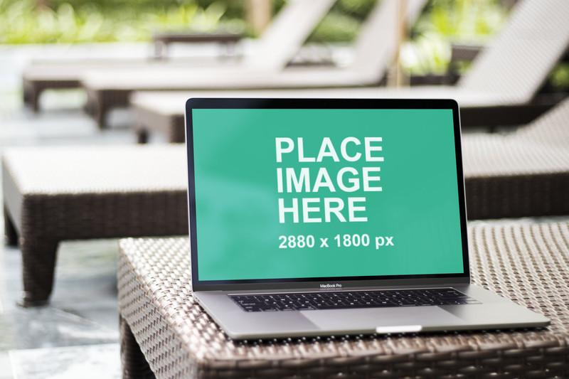 Macbook Pro on poolbed