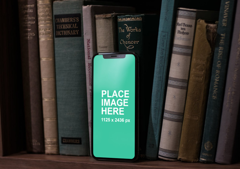 Standing iPhone X with books