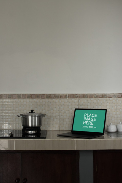 MacBook Pro in kitchen