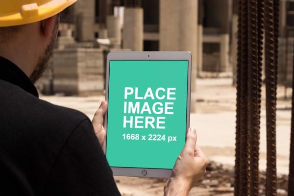 Worker using iPad Pro