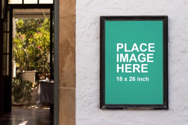 Poster on wall mockup