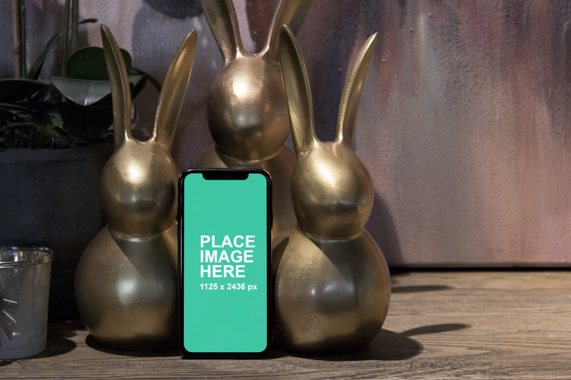 3 bunnies holding iPhone X
