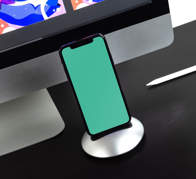 iPhone X on charging dock