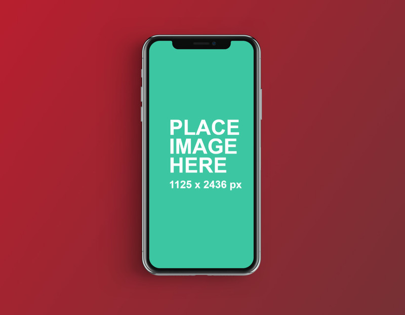 iPhone X with red background