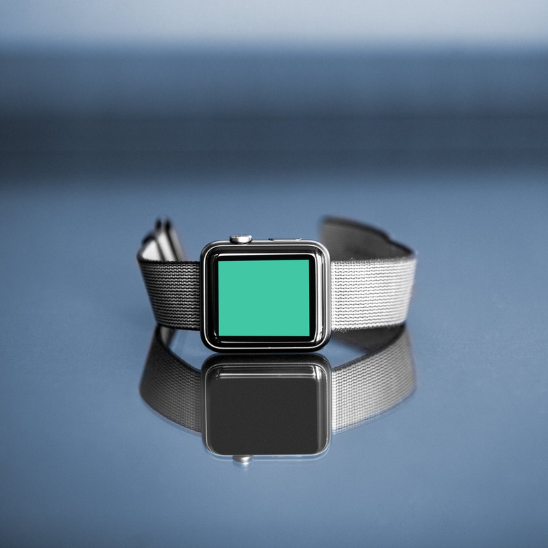 Apple watch in glassy surface