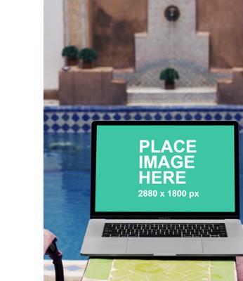 MacBook Pro at pool