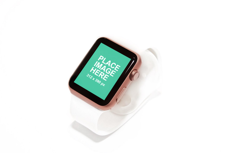 Pink Apple Watch with white bagground