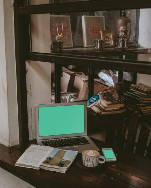 Rustic scene of MacBook Air and iPhone 6