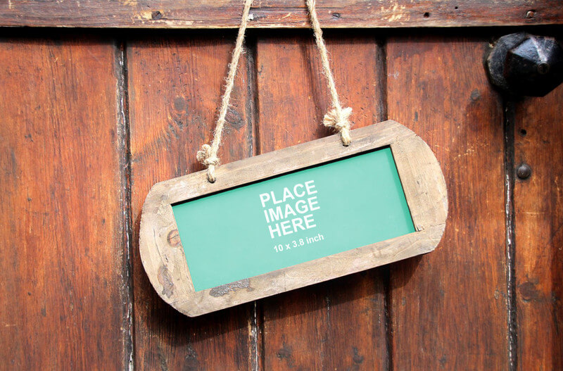 Small hanging chalkboard sign