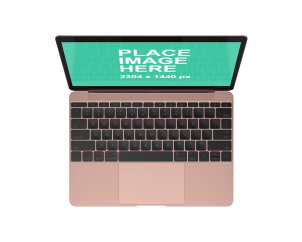 Top view Rose Gold MacBook