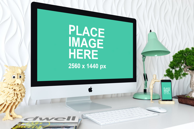 iMac and iPhone in home office