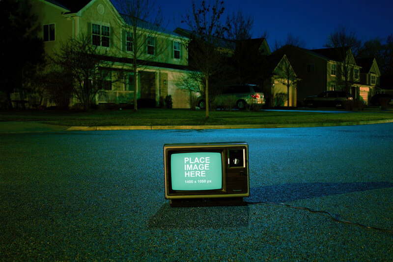 Vintage TV on road