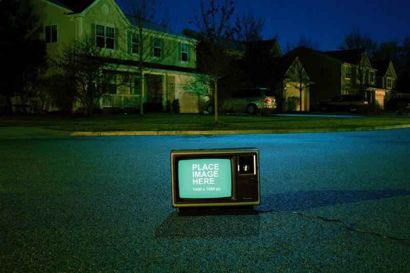 Vintage TV on road