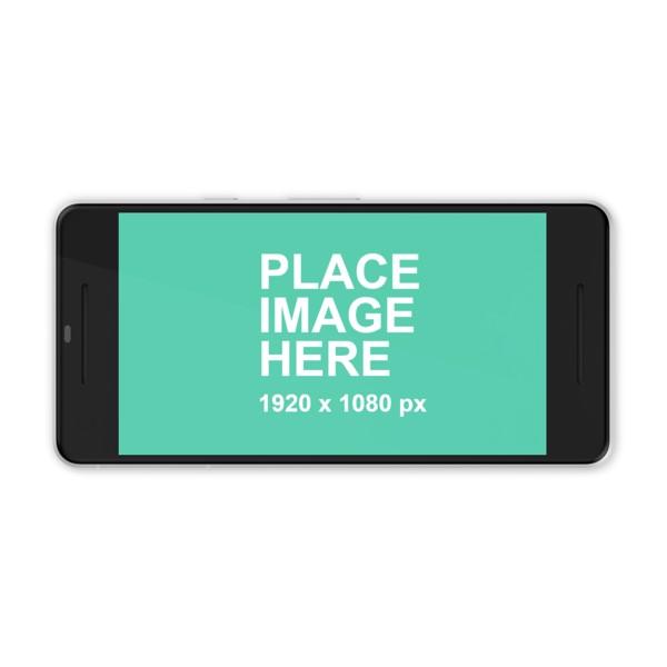 White Google Pixel 2 in landscape
