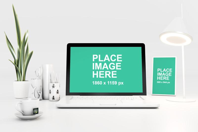 White Modern Desk with Computer 2