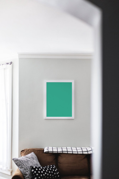 White picture frame on wall